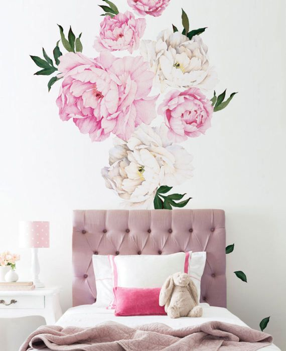 Peony Flower Wall Sticker Vivid Pink Watercolor Peony Wall