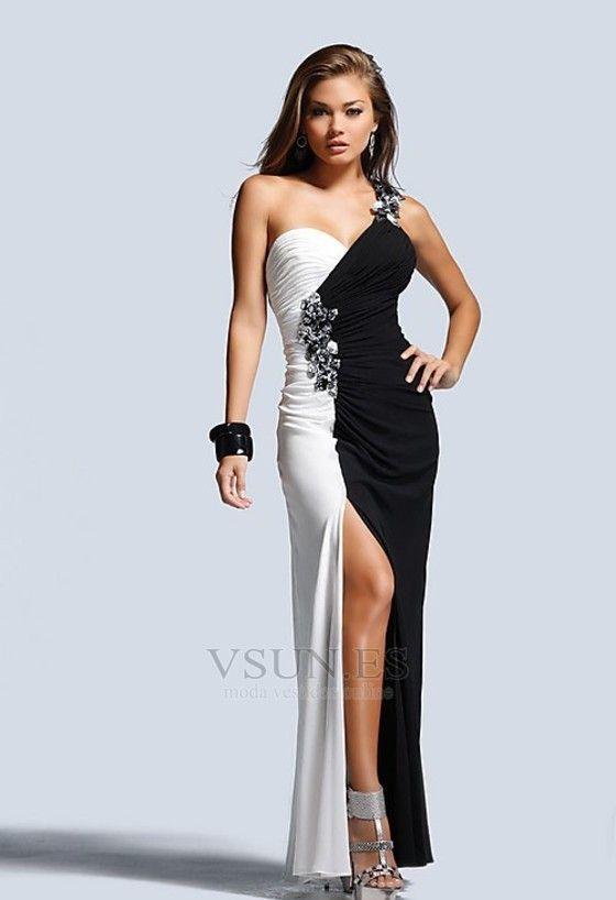 6536e3a33a Vestido+de+fiesta+cóctel+Gasa+largo+sexy+Un+sólo+hombro+Abertura+en+el+muslo