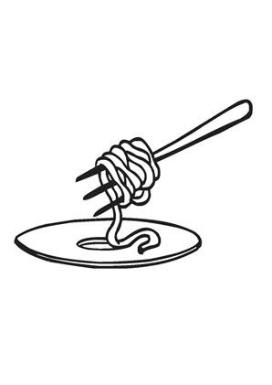 Ausmalbild Spaghetti Gabel zum kostenlosen Ausdrucken und