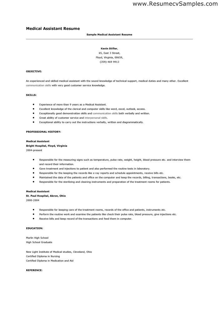 medical assistant resume cakepinscom - Medical Assistant Resume Templates