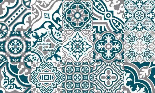 Tapis Vinyle Carreaux de Ciment - Madeleine - Bleu Canard ...