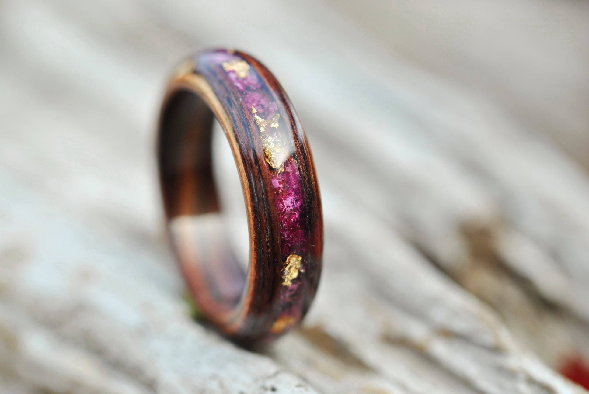 Wood Women Ring With Natural Pink Flowers. Wood Engagement