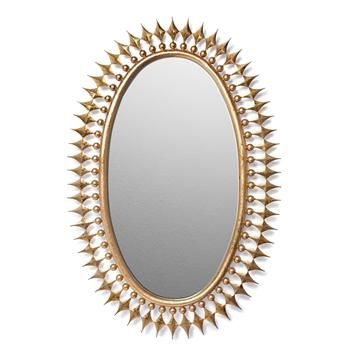 Wellington Oval Hollywood Regency Sunburst Radiant Mirror