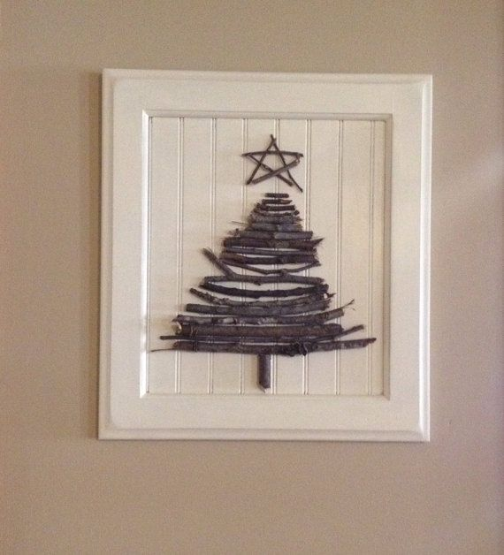 Repurposed Cabinet Door Front Christmas Twig Tree On Etsy
