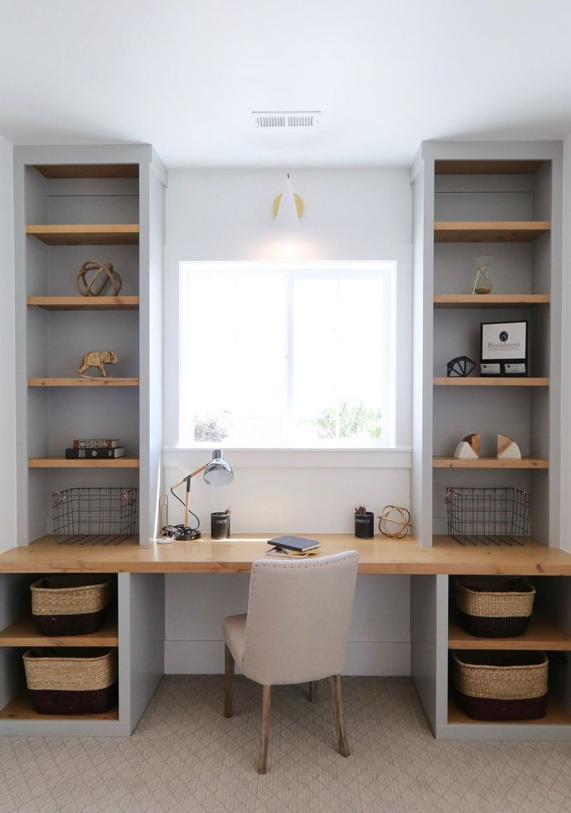 47 Office Comfortably Constructed With Cabinet Furniture In Winter 2020 Built In Wall Shelves Home Office Design Built In Desk