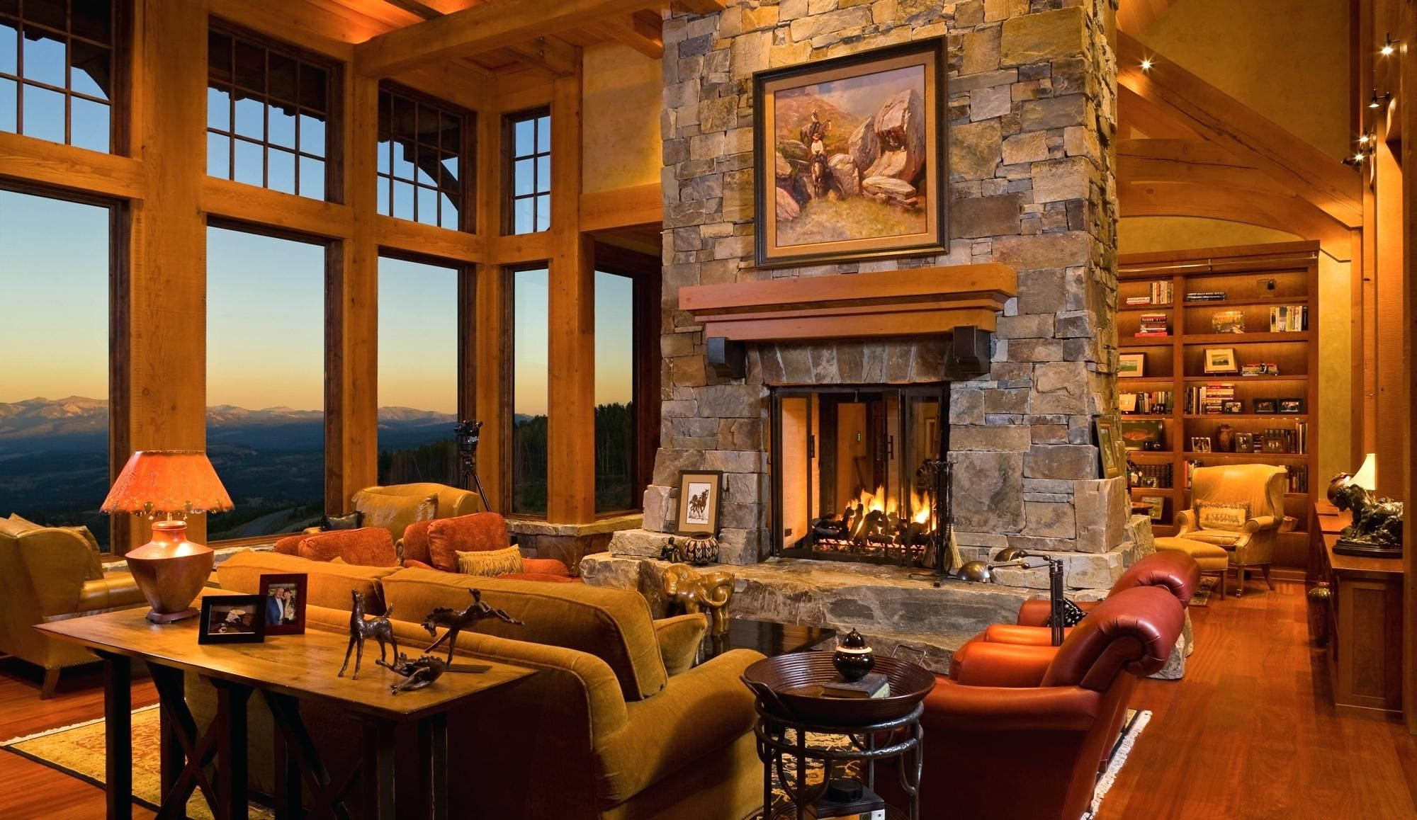 Central Stone Fireplace Home Fireplace Home House De