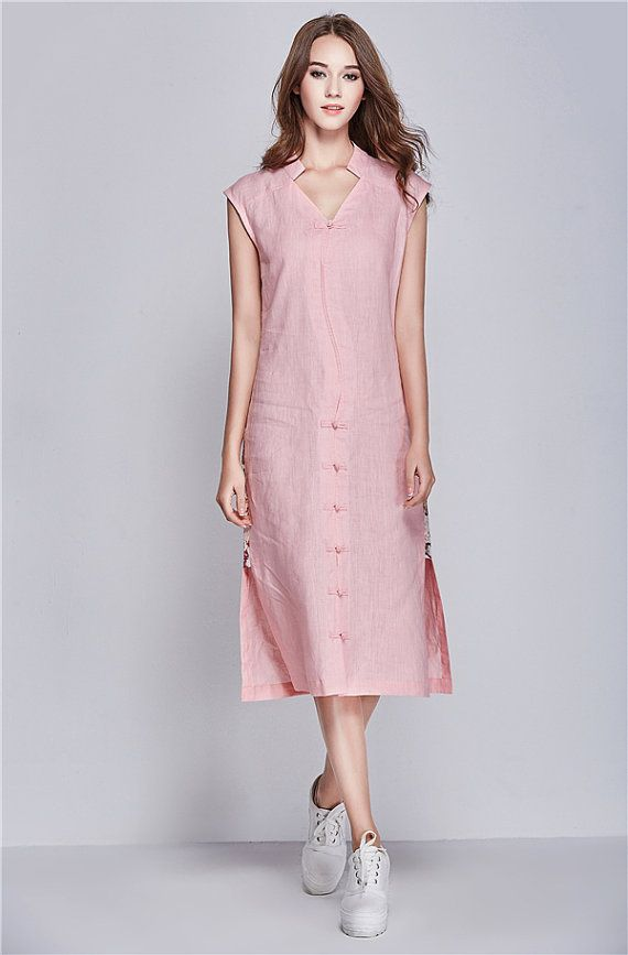 Well-known long linen dress for women. Asymmetrical handmade buttons. ruffle  HF26