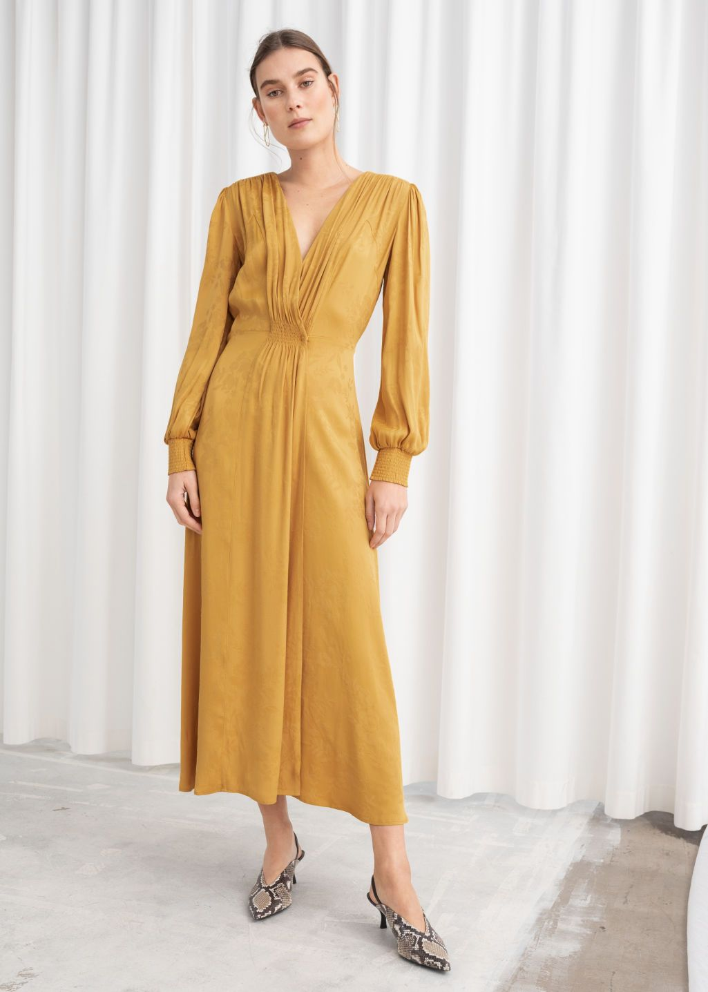 Ruched Jacquard Midi Dress Yellow Midi Dresses Other Stories Midi Dress Dresses Fashion