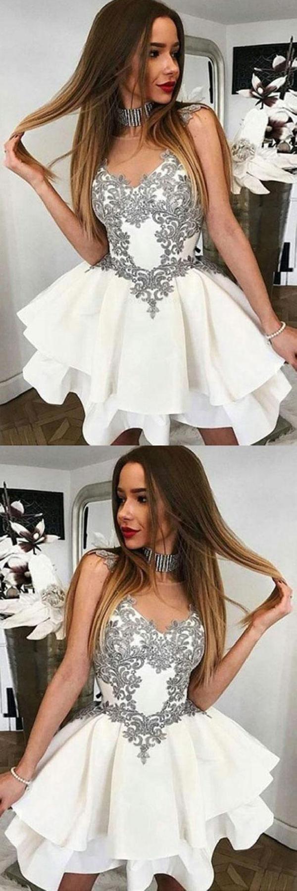 Ivory prom dress short homecoming dress prom dresses