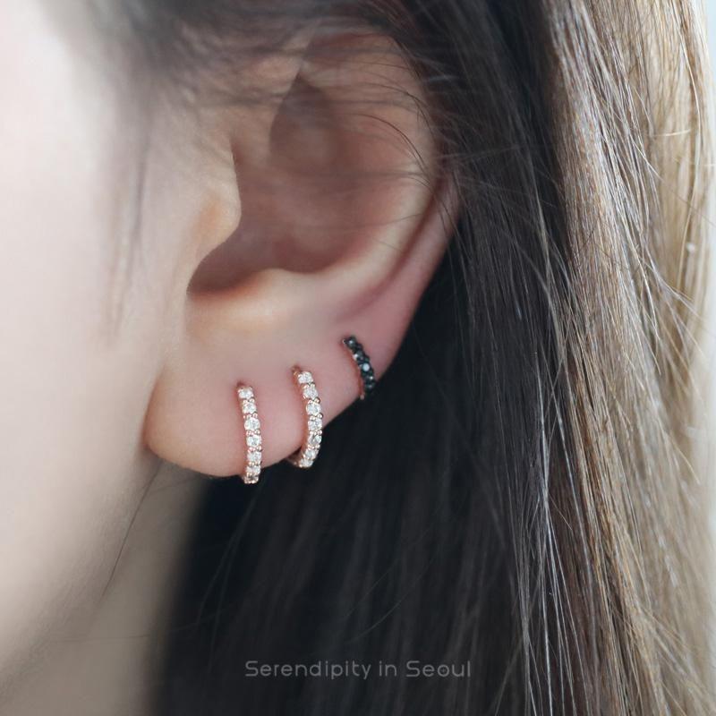 14k Gold Vermeil Huggie Cartilage Earring 8mm Hoop Earrings,Cz Evil Eye Hoop Earring