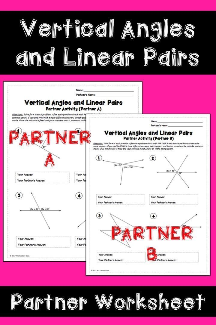 Vertical Angles And Linear Pairs Partner Worksheet Math