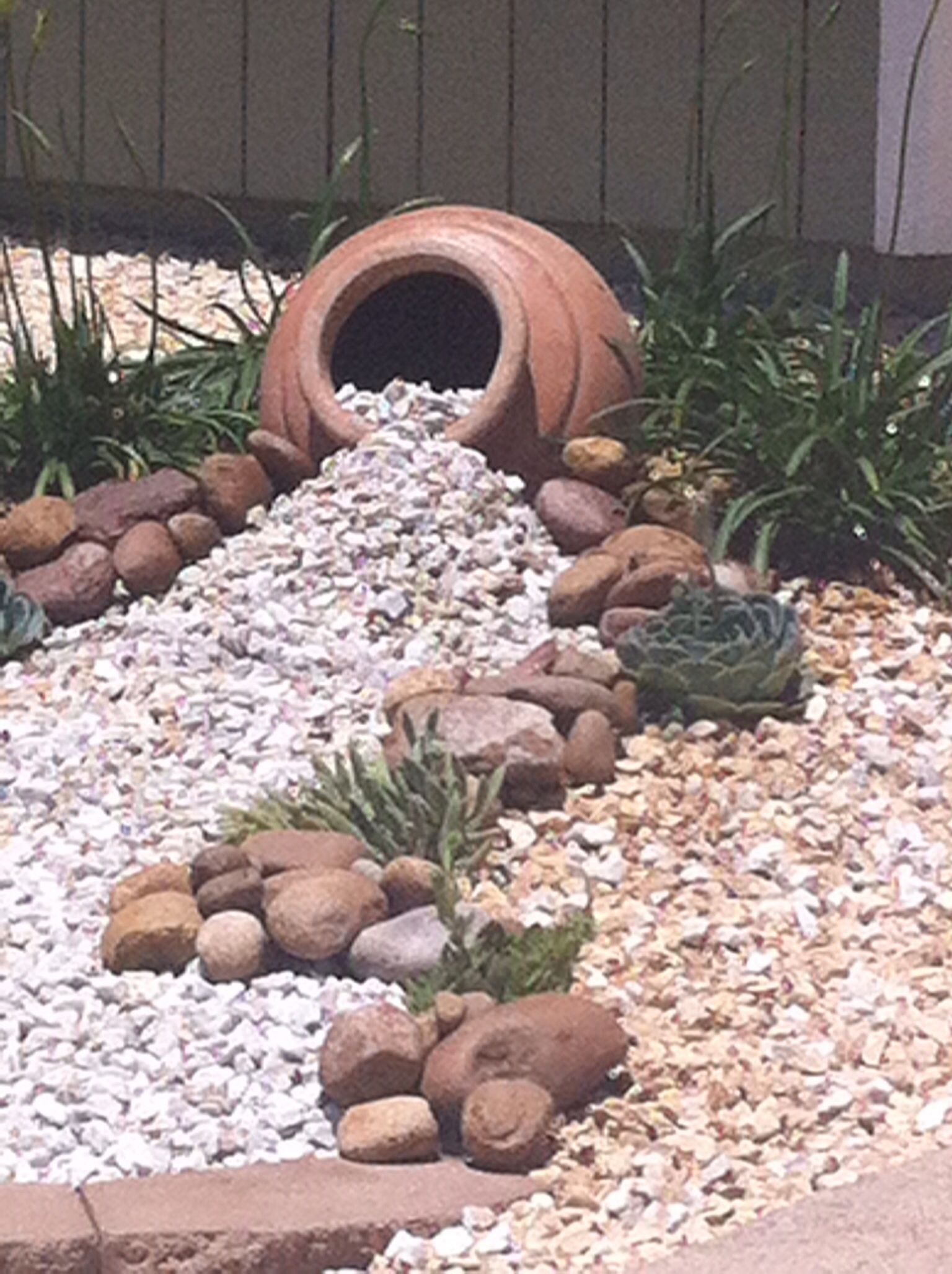 Loved Using Ideas From Pinterest In Our New Low Maintenance Landscaping Project Rock Garden Design Landscaping With Rocks Rock Garden Landscaping