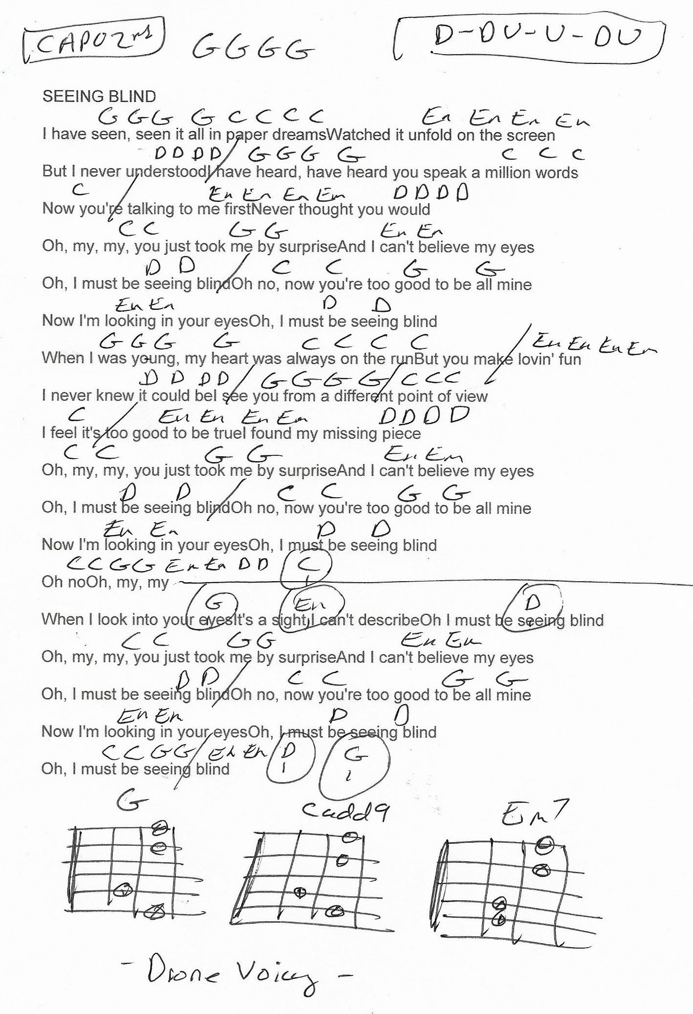 Seeing Blind Niall Horan Guitar Chord Chart Capo 2nd Fret