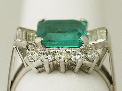 3.05ct Emerald & 0.96ct Diamond, 18ct White Gold Dress Ring - Vintage Size Q1/2