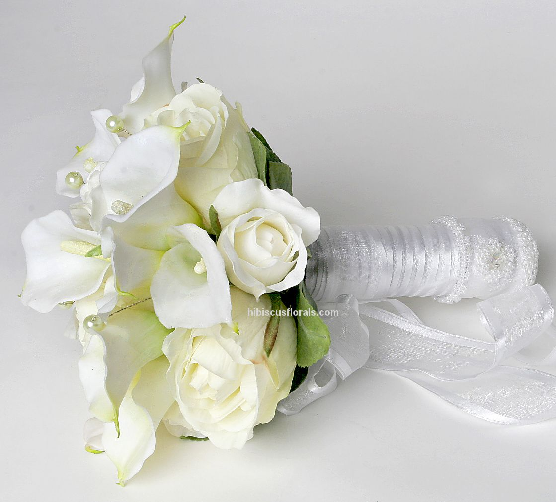 Wedding Flowers Roses And Lilies : Images wedding bouquets white real touch calla lilies