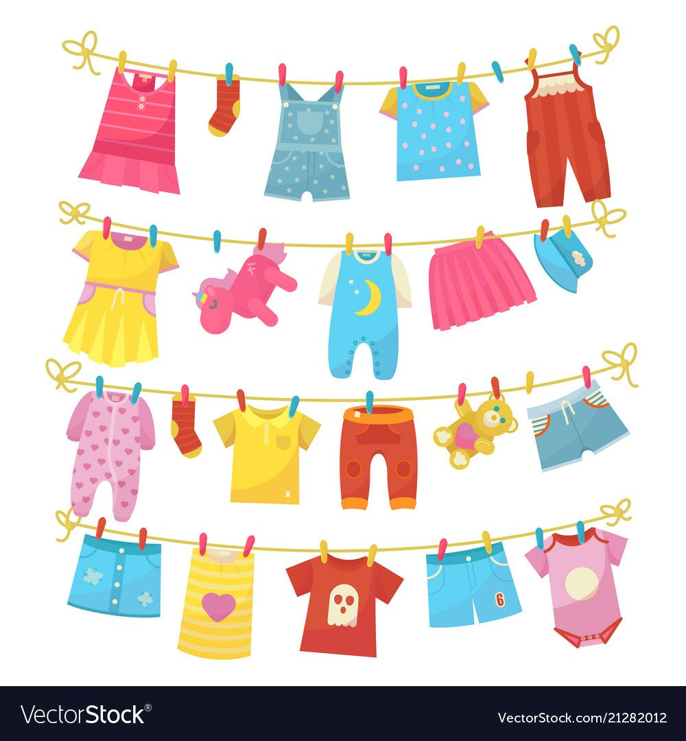 Children Clothes On Rope Royalty Free Vector Image Kids Outfits Clothes Clothes Clips