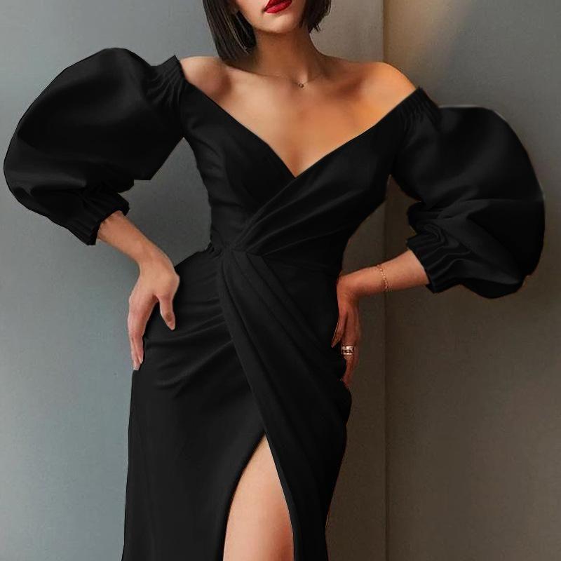 Photo of Irregular Summer Puff Sleeve Dress Sexy Evening Dress