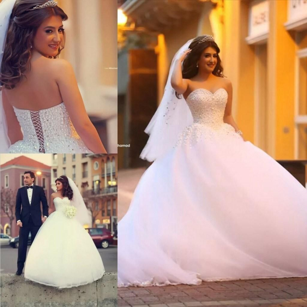 Corset for under wedding dress   White Crystal Ball Gown Wedding Dresses Sweetheart Pearl Floor