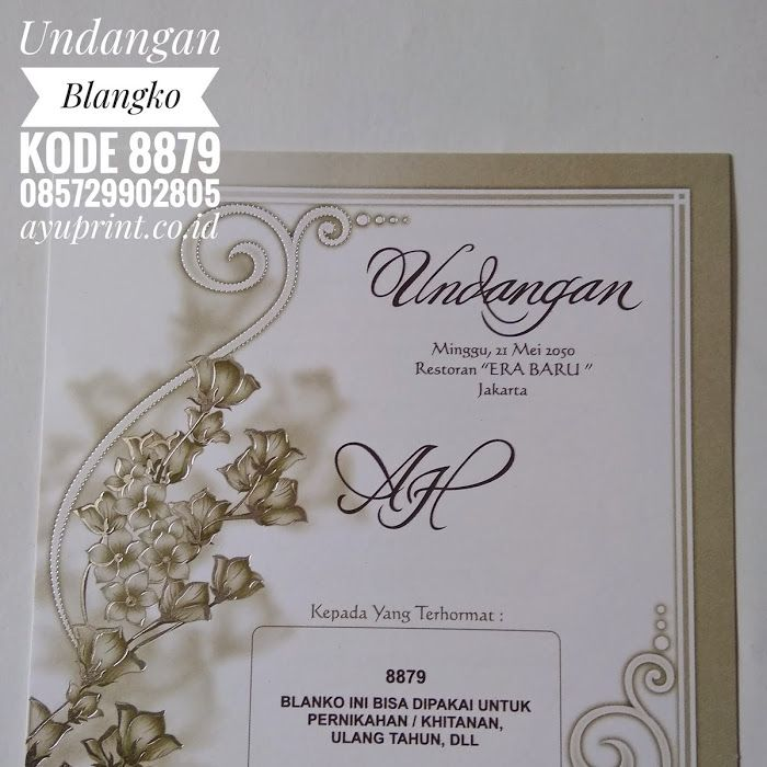 Undangan Blangko Kode 8879 Wedding Invitation Designs