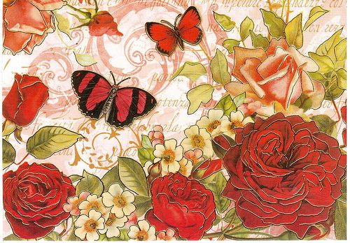 Postcrossing US-1880917 - Card with roses, butterflies and glitter. Sent to Postcrosser in Finland.
