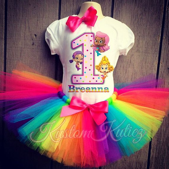 Bubble Guppies Birthday Tutu 4th Birthday Party Dress Pink Tutu Outfit Shirt