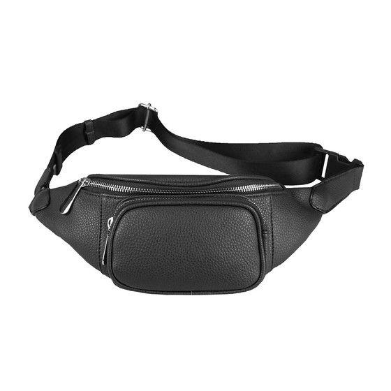 OBC Damen Tasche Gürteltasche Crossbody Leder 7805.Black