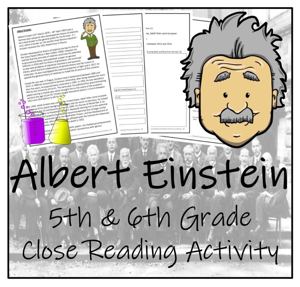 Albert Einstein 5th 6th Grade Close Reading Activity Close Reading Activities Informational Texts Activities Close Reading [ 958 x 1000 Pixel ]
