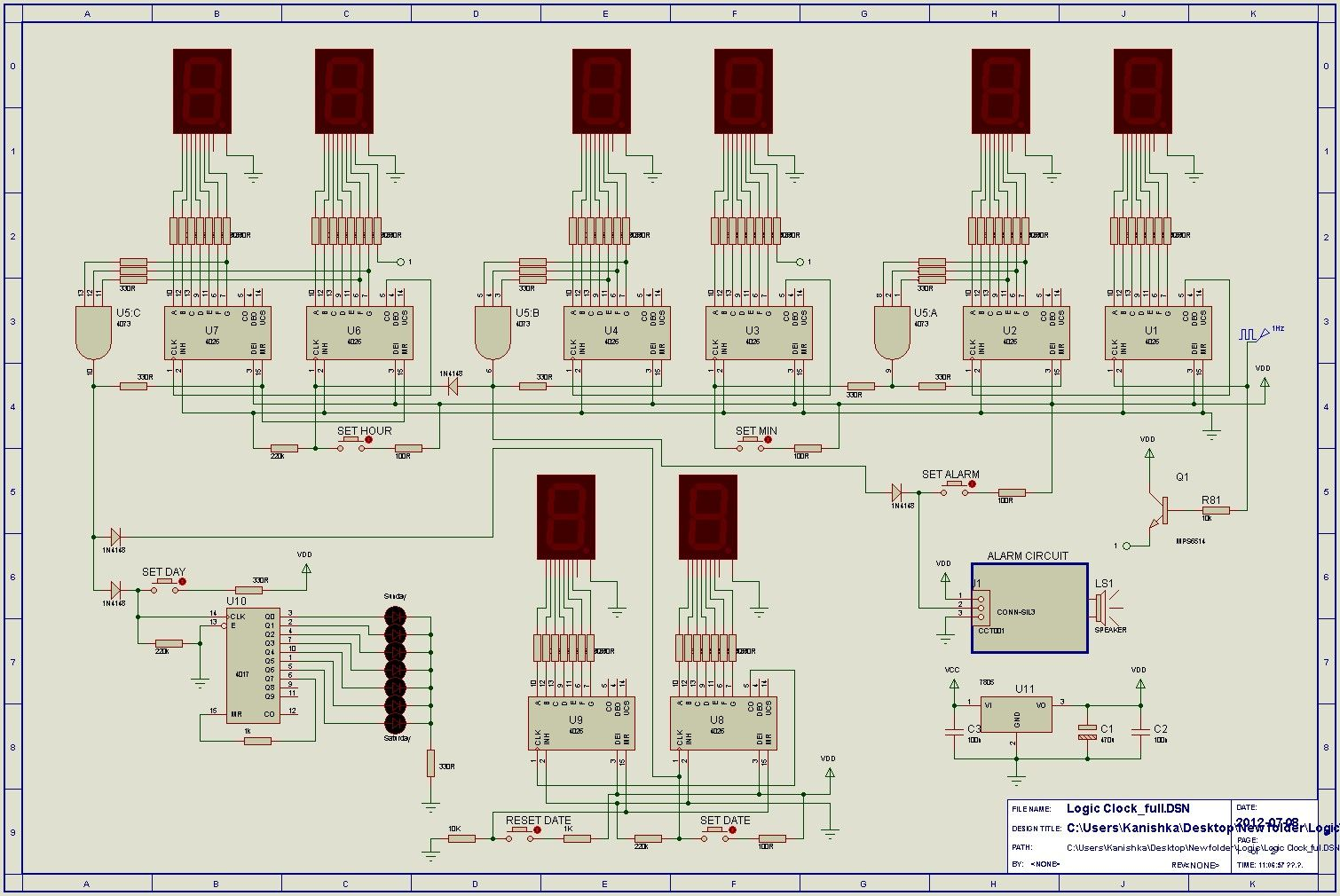 24hr Digital Clock And Alarm Circuit Using Logic Ics Cd4017 Diagram Puertas Logicas Homemade Pic Programmer Schematic
