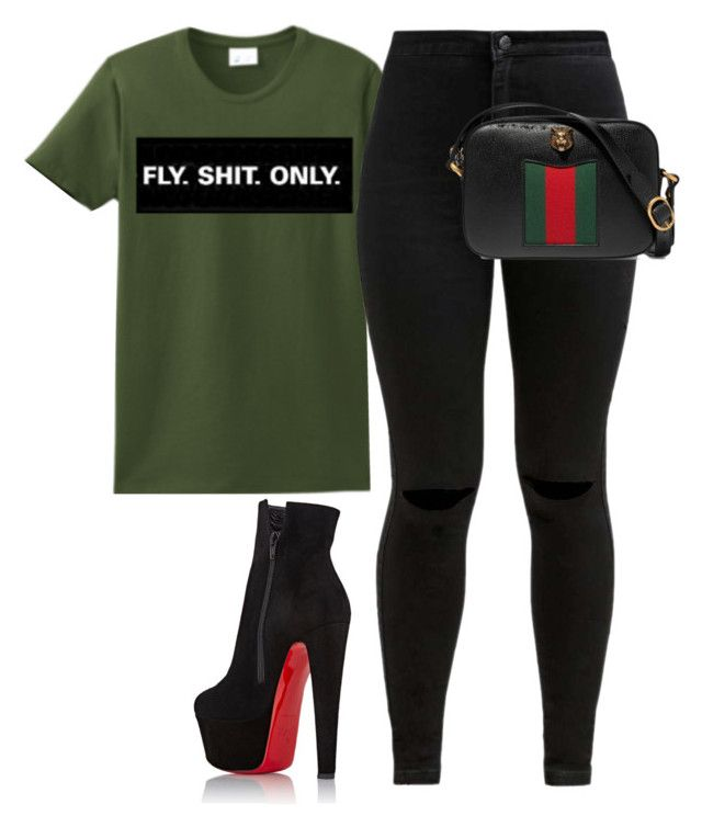"""Untitled #1758"" by flyyshitonly ❤ liked on Polyvore featuring Gucci and Christian Louboutin"