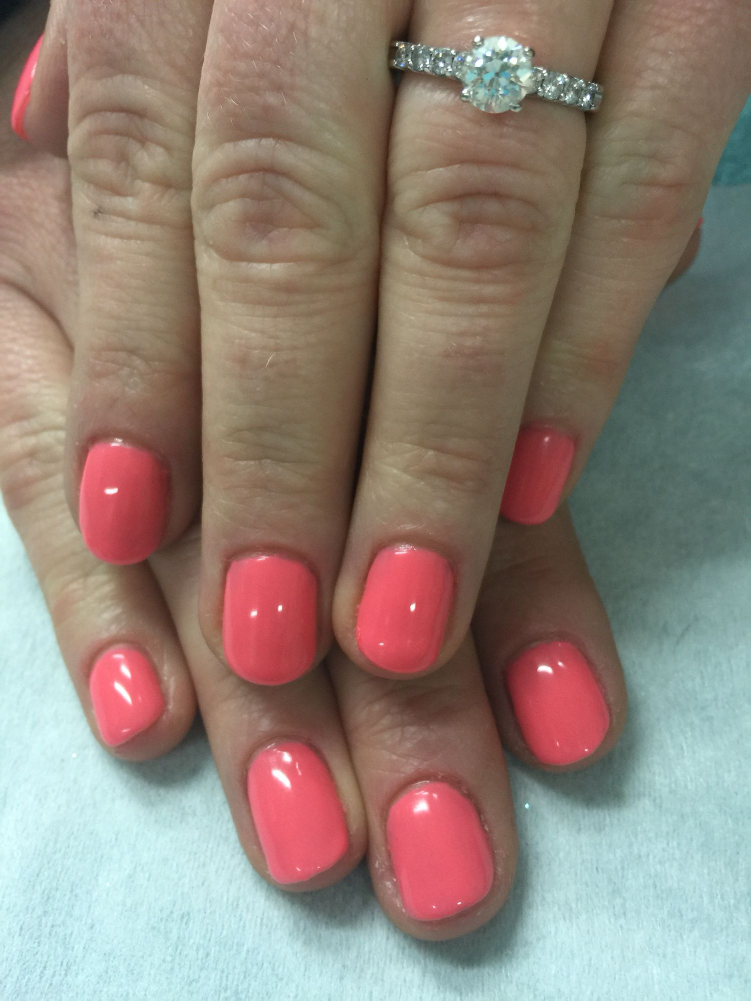 Pink coral spring gel nails | Gel Nail designs | Pinterest