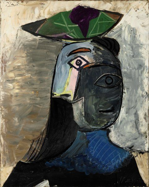 """""""Tête de femme"""" Pablo Picasso 1939 Oil on canvas Sotheby's Art Impressionniste & Moderne http://www.sothebys.com/en.html"""