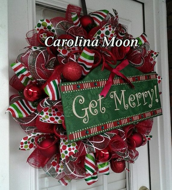 Get Merry Christmas Wreath Red Green White by CarolinaMoonDecor