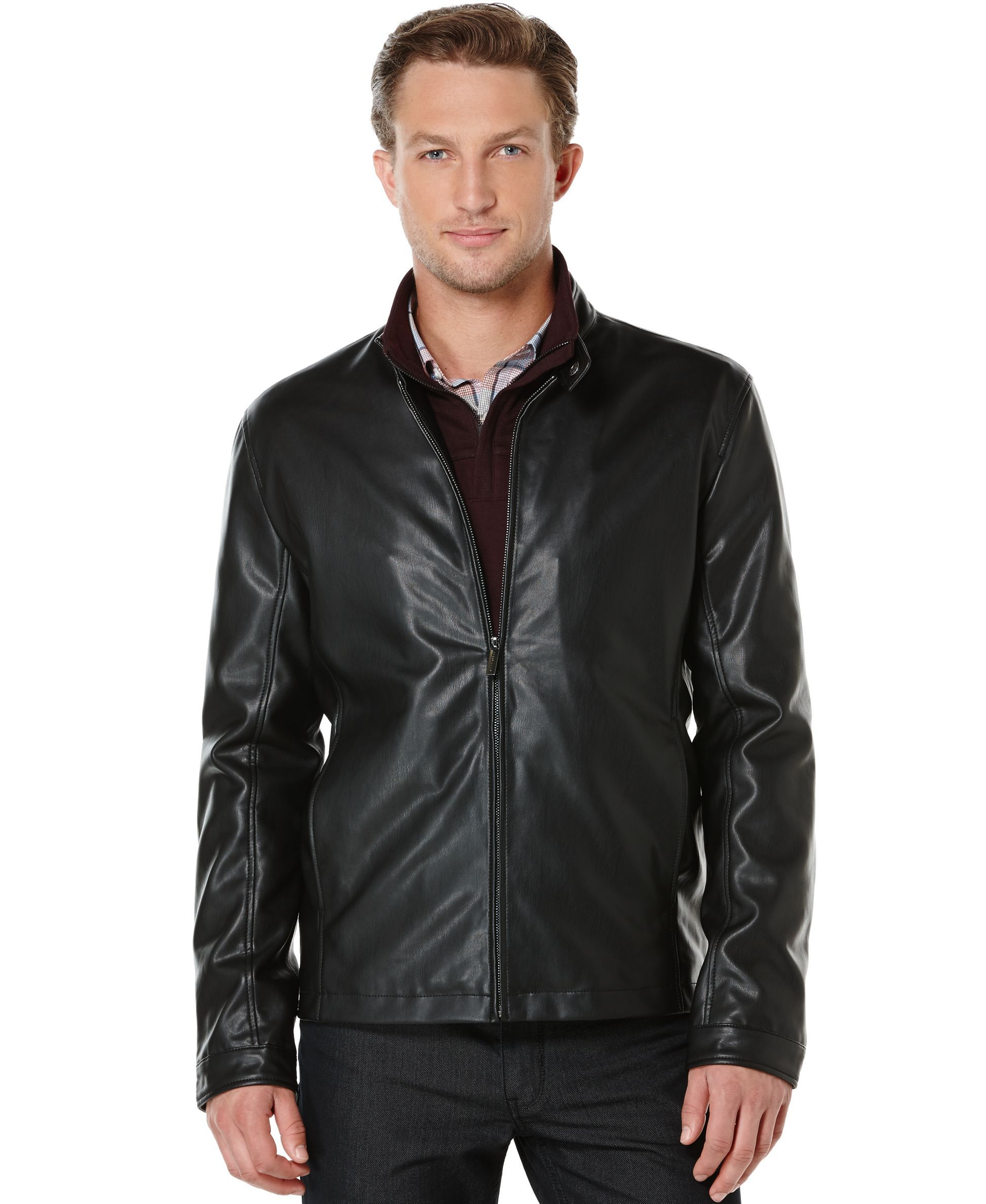 1f90c3332 Perry Ellis Faux-Leather Bomber Jacket | Products | Jackets, Bomber ...