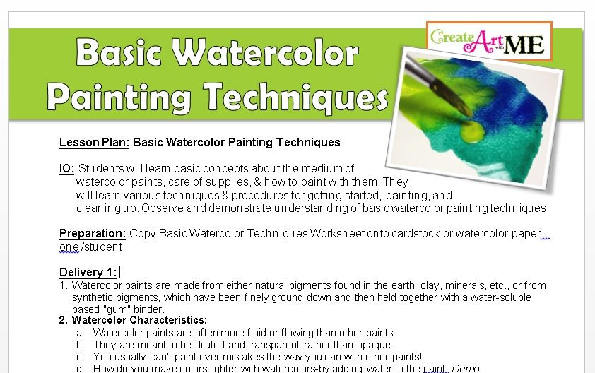 Basic Watercolor Painting Techniques Lesson Plan Worksheet