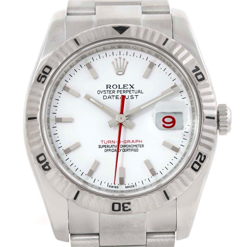 Rolex Thunderbird Turnograph Steel 18k White Gold Watch 116264