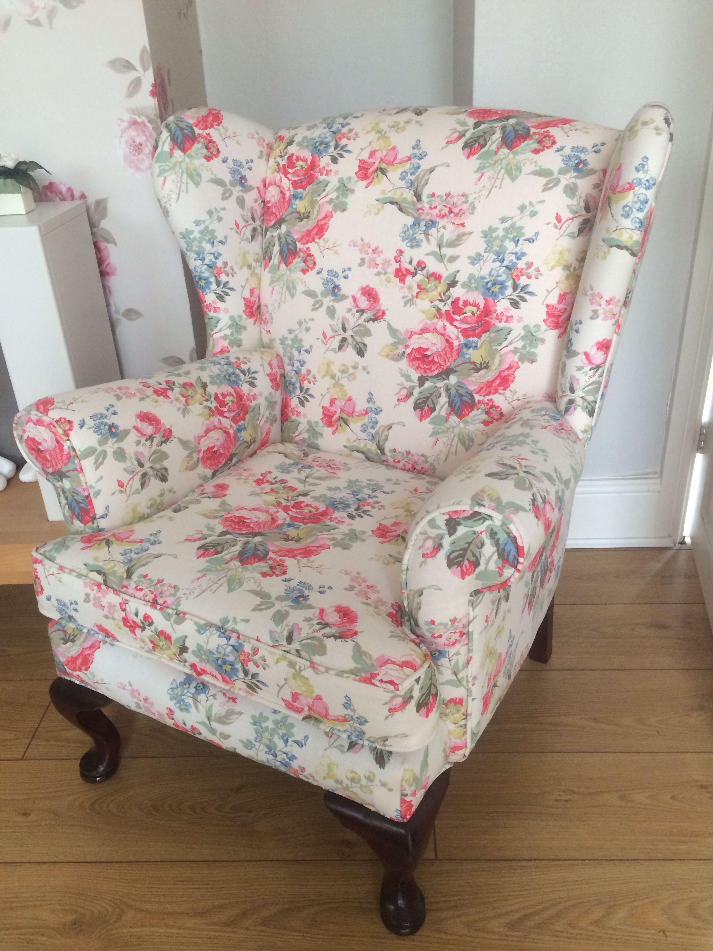 My lovely recovered chair in Cath Kidston portobello
