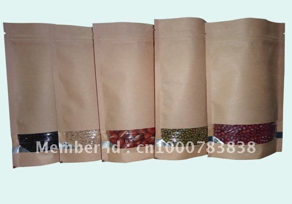 Free shipping wholesale 140*210mm brown kraft standup windows standing up zip lock packaging bag,kraft paper drink packaging bag-in Event & Party Supplies from Home & Garden on Aliexpress.com