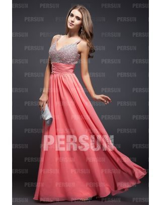 Photo of Tencel Sparkling Straps Beading A-Line Evening Dress / Coc …