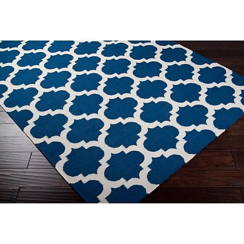 Royal Blue And White Trellis Rug: Surya Frontier Royal Blue Accent Rug
