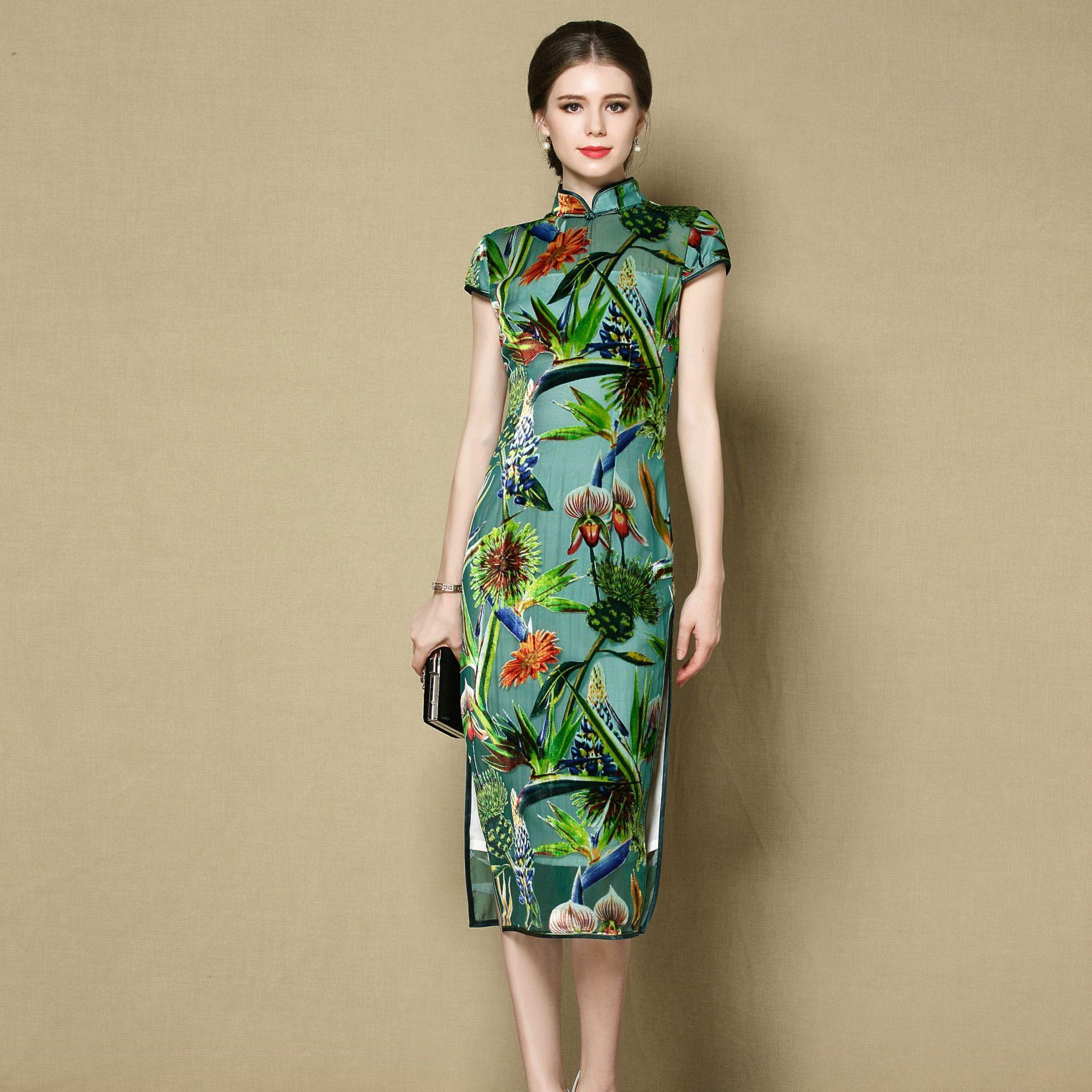 138f1b33bfbe Ravishing Flocked Silk Cheongsam Qipao Dress - Green - Qipao Cheongsam &  Dresses - Women