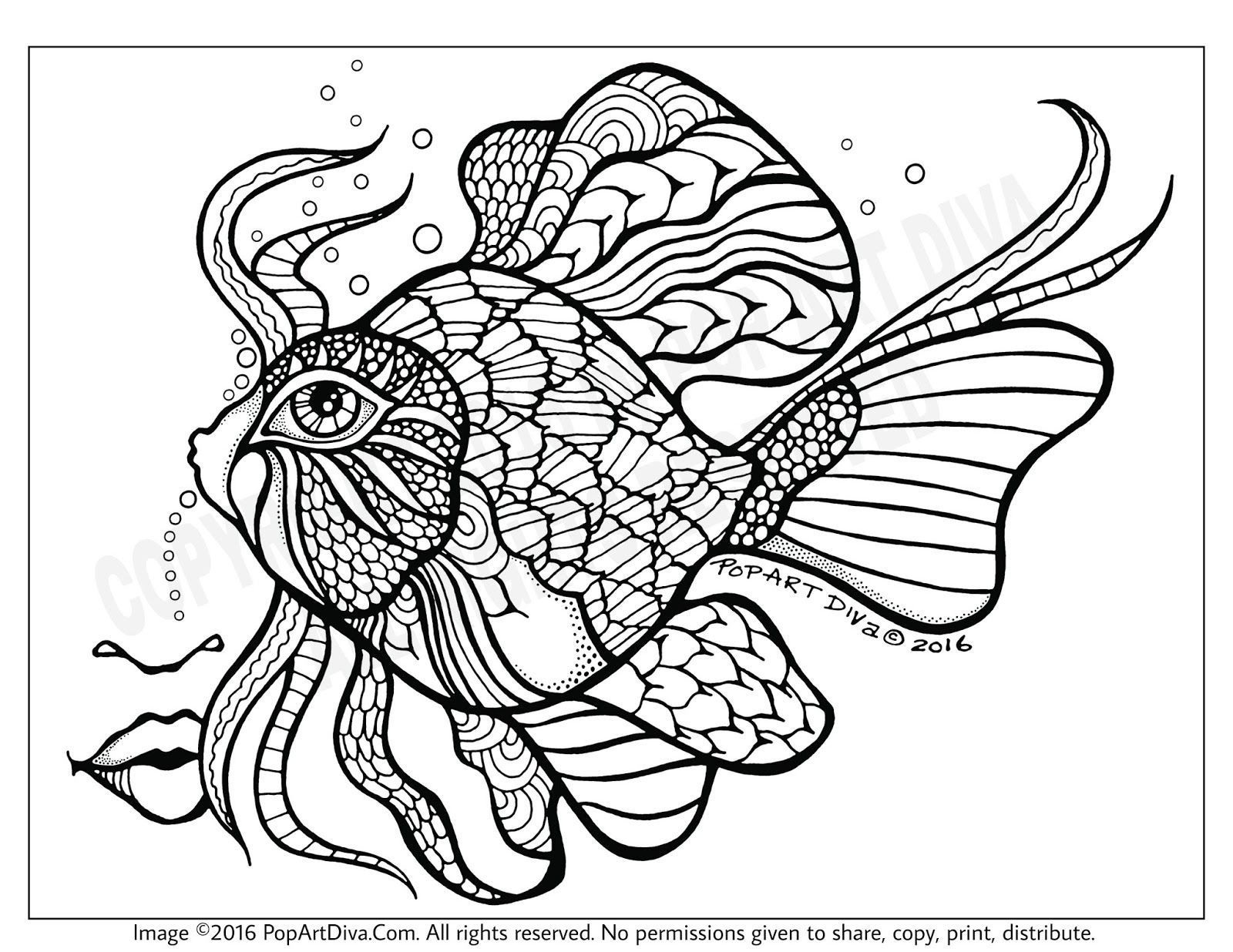- Coloring Book Zentangle Style Fantasy Fish Drawing (With Images