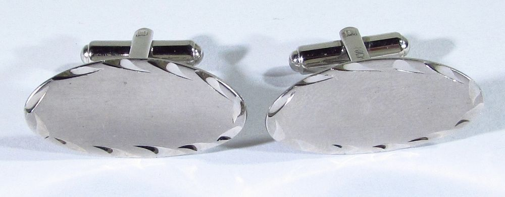 Sterling Silver Cufflinks with Oval and Etched Design by Hickok #Hickok