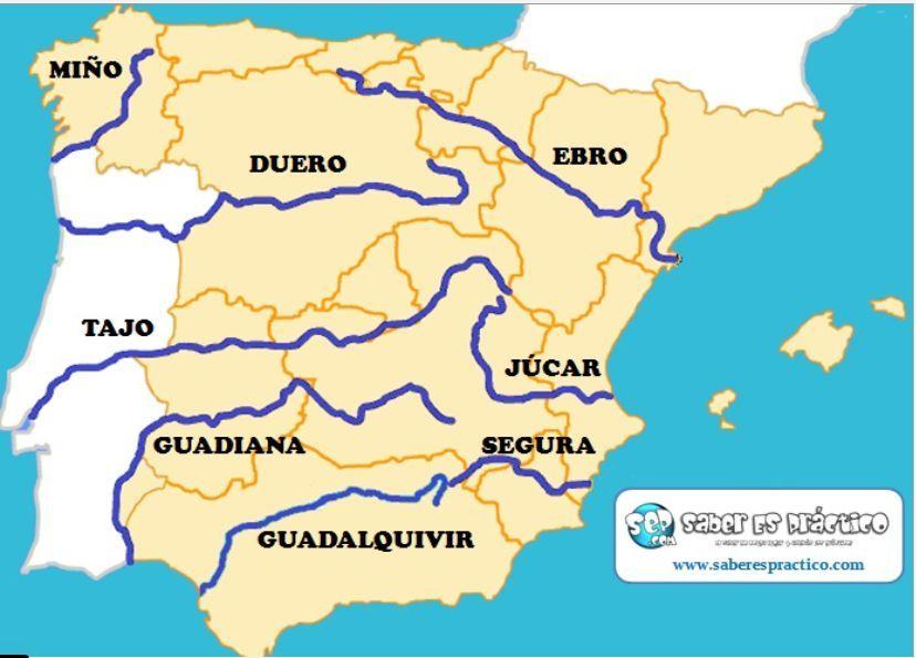 Mapa Fisico Peninsula Iberica Rios.Rios 3 Rios De Espana Mapa Fisico De Espana Y Mapa De Espana
