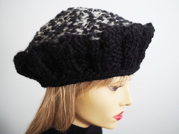 b469400f30b Black Knit Hat Black and White Bulky Yarn Russian by TheMastHatter ...