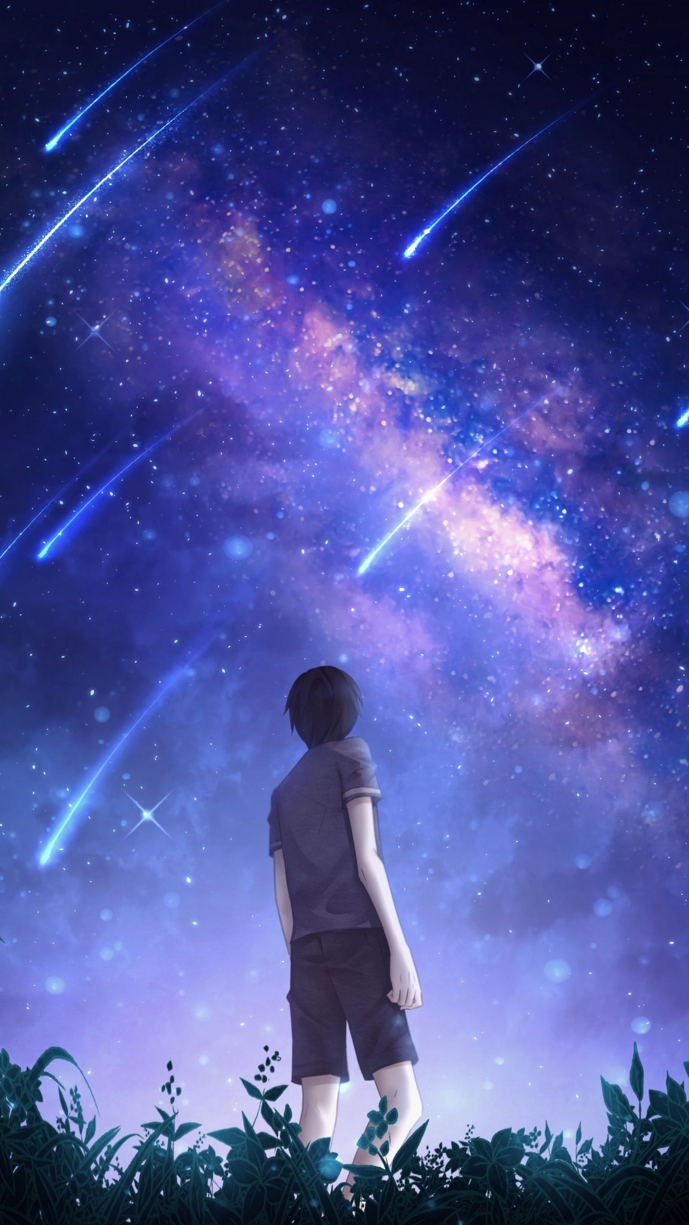 Silhouette Starry Sky Meteors Starfall Night Art Wallpaper Background Iphone 11 X 12 Xs In 2021 Sky Anime Silhouette Art Anime Backgrounds Wallpapers Iphone anime night sky wallpaper hd