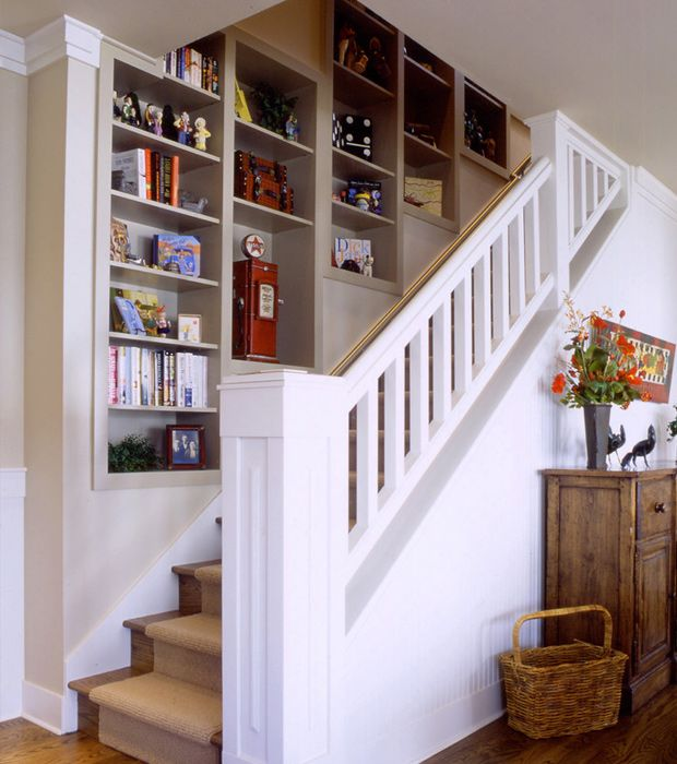 Staircase Shelving shelf unit built-in wall staircase interior | one day | pinterest
