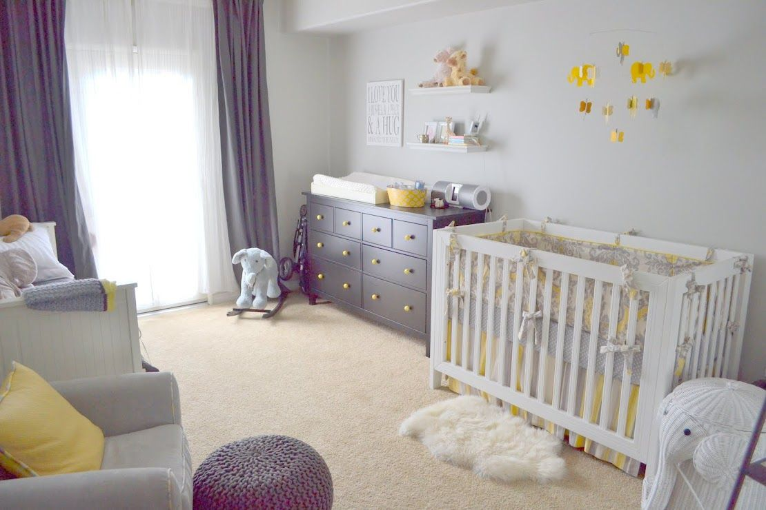 Baby nursery with grey/cream/yellow colors. I made the ...