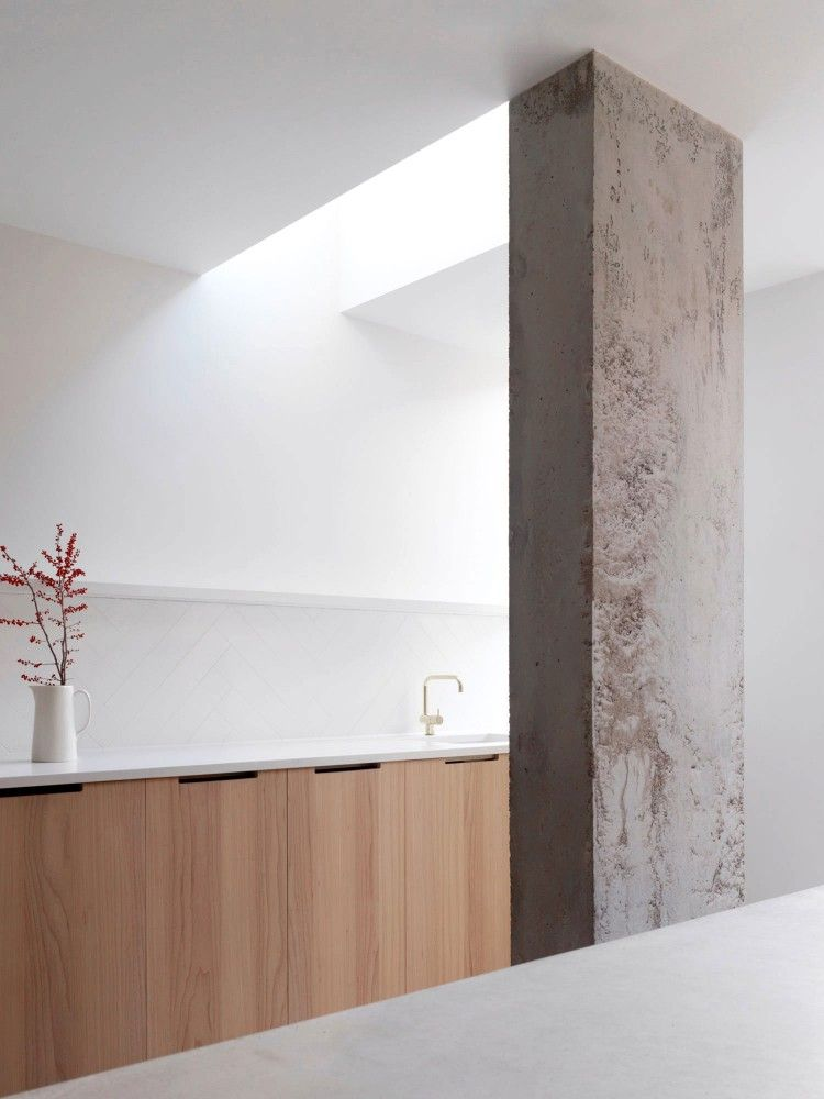 Mooie combinatie, wan beton, hout en wit