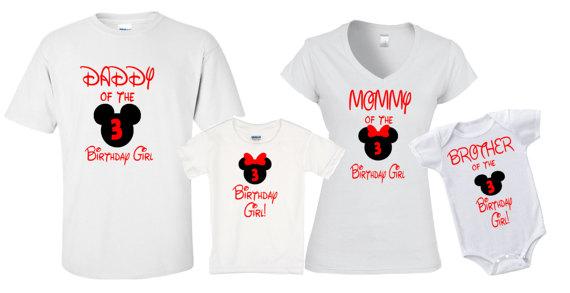 Mickey Minnie Birthday Shirts Group Disneyland Disney World Family Trip Vacation