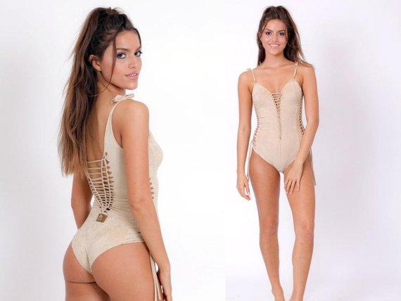 One piece  Swimsuit , Swimwear , Beachwear , Bathing suit , Boho chic , light beige suede look  swim